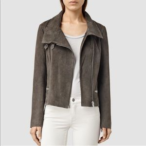 All Saints Bales Suede Biker Jacket In Graphite